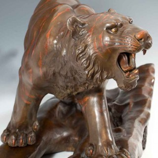 EXCEPTIONAL LARGE BRONZE & MIXED METAL TIGER ON STAND - MARUKI COMPANY