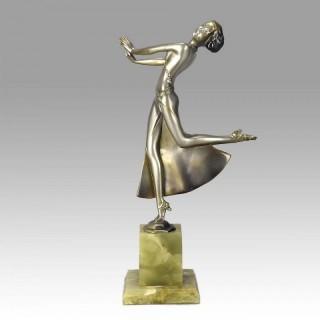 Cold Painted Art Deco Bronze Figure entitled 'Joy' by Josef Lorenzl
