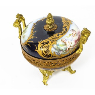 Antique Sevres Royal Bleu Porcelain Pot-Pourri Urn Stamped 1846 19th C