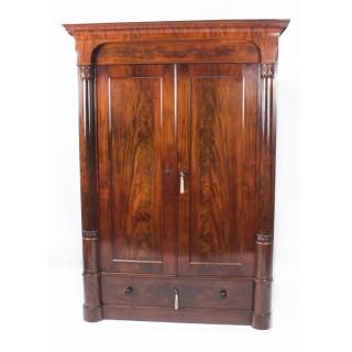 Antique William IV Flame Mahogany Double Door Wardrobe c.1830 19th C