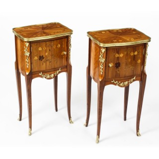 Antique Pair French Kingwood & Marquetry Bedside Cabinets 19th Century