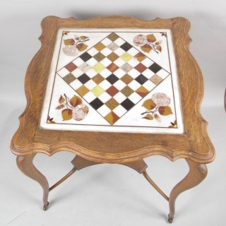 An original Kashmir (India) inlaid marble chess table.