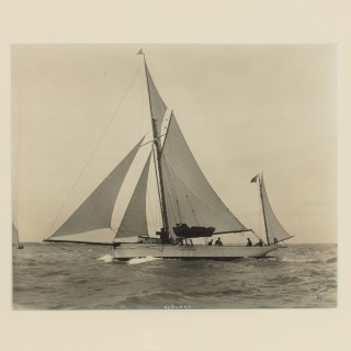 Early silver gelatin photographic print of Gaff Yawl Seaweed
