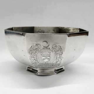 Antique Queen Anne Octagonal Silver Sugar Bowl