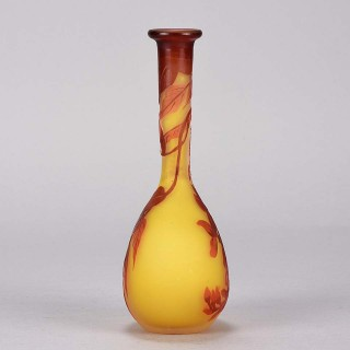 Art Nouveau Cameo Glass Banjo Vase by Emile Gallé