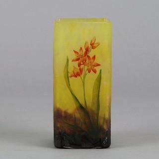 Art Nouveau Cameo Glass 'Montbretia' Vase by Daum Freres