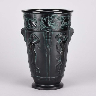 "Art Deco Glass Vase  ""Bacchantes Vase"" by Sabino"