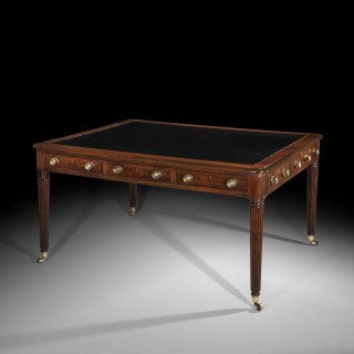 Large Regency Mahogany Writing Table Desk