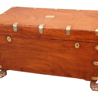 Antique 19th Century Camphor Wood Campaign Trunk