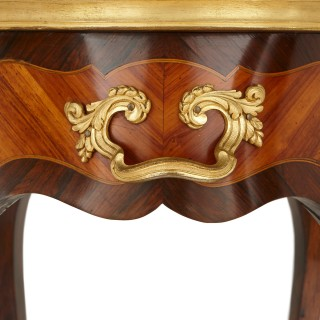 Pair of antique Rococo style gilt bronze and parquetry occasional tables