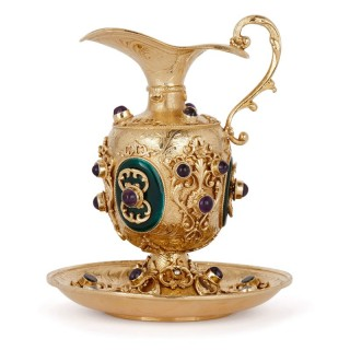 Silver-gilt miniature jug and basin with gemstone inlays