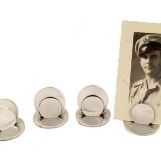 Set 4 Antique Sterling Silver Menu Holders in Case – 1914