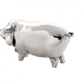Antique Sterling Silver Pig Match Strike / Vesta 1930