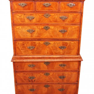 Antique Early 18th Century Walnut Chest On Chest, or Tallboy