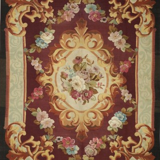 19th Century French Aubusson handwoven wool rug