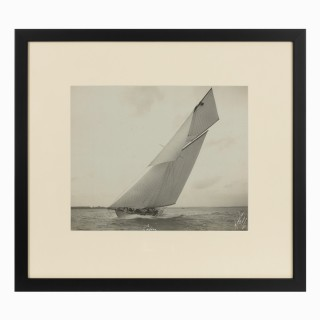 Early silver gelatin photographic print of the French Gaff Ketch Lafone