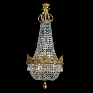 A Gilt-Bronze Cut-Glass Tent and Bag Chandelier
