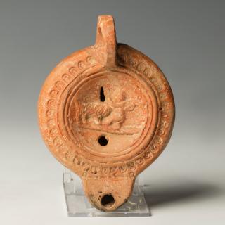 Roman Pottery Lamp with Eros