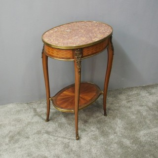French 2 Tier Oval Occasional Table