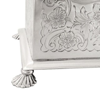 Large Antique Victorian Sterling Silver Jewellery / Trinket Box / Casket 1890