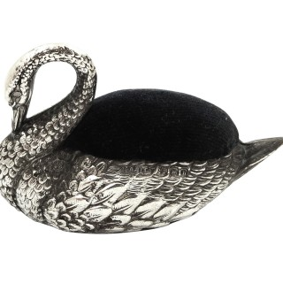 Antique Edwardian Sterling Silver Swan Pin Cushion 1907