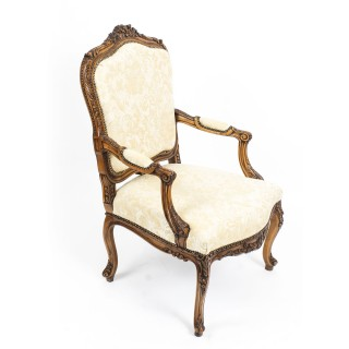 Antique French Walnut Salon Armchair Chair 19th Century