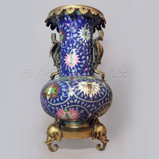 A Cloisonne Enamel Vase With Dragon Handles and Elephant Head Feet