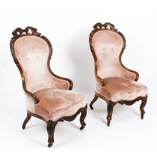 Antique Pair Victorian Walnut Spoon Backed Armchairs 19th Century