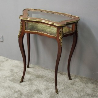 French Brass and Mahogany Bijouterie Table
