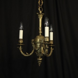 English Gilded Bronze Triple Light Chandelier