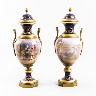 Antique Pair Ormolu Mounted Sevres Lidded Urns Vases 19th Century