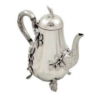 Antique Edwardian Sterling Silver 'Pear' Coffee Pot 1903