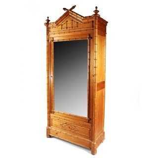 A simulated bamboo armoire