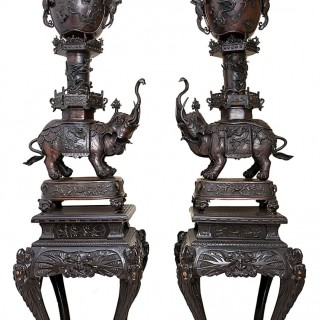 Large Pair of Meiji Japanese Bronze Elephant Censers, circa 1880