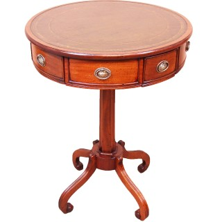 Antique Small Regency Mahogany Drum Table