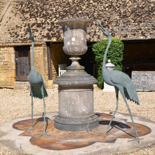 A pair of very large Meiji Period (1868-1912) bronze cranes