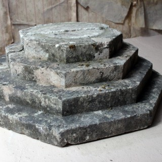 An Early 20thC Carved Stone Octagonal Stepped Plinth c.1920-40