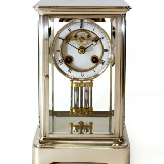 Antique Silvered Mantel Clock