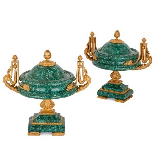 Two malachite tazza vases with gilt bronze mounts