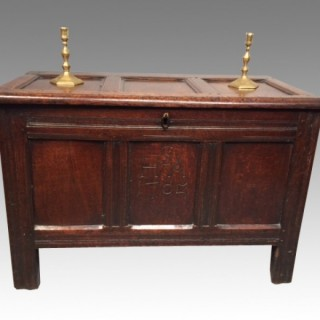 Small Queen Anne dated  oak coffer.