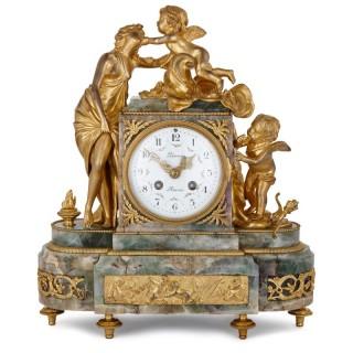 Fluorite and gilt bronze clock, depicting 'Love'