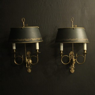 French Pair Of Empire Gilded Wall Lights