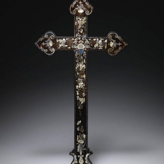 A Chinese export mother-of-pearl inlaid wood apostle cross