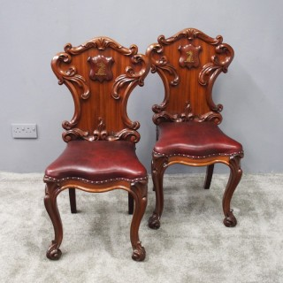 Pair of George IV Carved Mahogany Hall Chairs