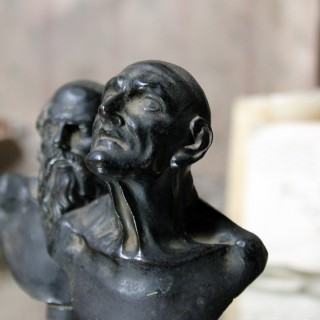 Two Early 19thC Grand Tour Bronze Portrait Busts of Philosophers