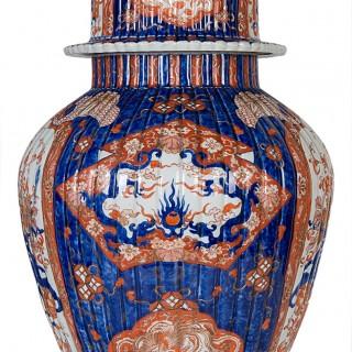 Large 19th Century Japanese Imari lidded vase.