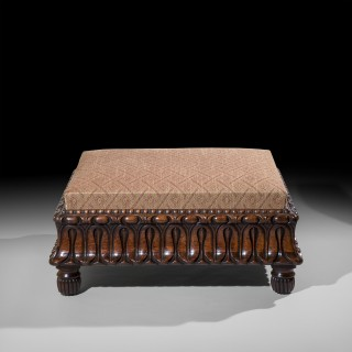Large Early 19th Century Carved Footstool Ottoman