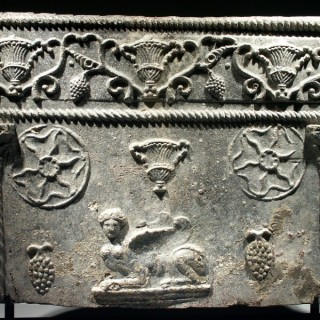 A Panel from a Roman Lead Sarcophagus of the Columnar Type