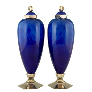 Pair Art Deco blue ceramic vases or urns