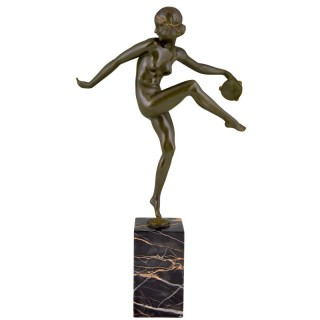 Art Deco bronze sculpture nude tambourine dancer